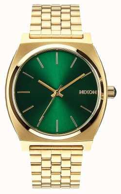Nixon 时间出纳员|金色/绿色阳光|黄金ip钢手链|绿色表盘 A045-1919-00