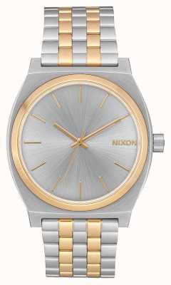Nixon 时间柜员|银/金|两音钢手链|银色表盘 A045-1921-00