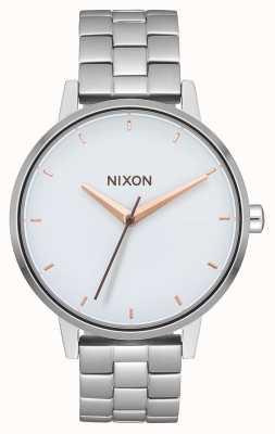 Nixon 肯辛顿 银/白/玫瑰金 不锈钢手链 白色表盘 A099-3029-00