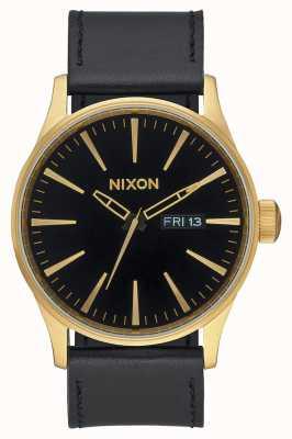 Nixon 哨兵皮革|金色/黑色|黑色皮革表带黑色表盘 A105-513-00