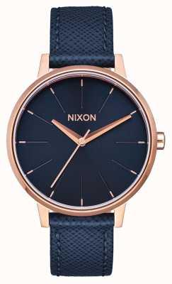 Nixon Kensington皮革|海军/玫瑰金|蓝色皮革表带|蓝色表盘 A108-2195-00