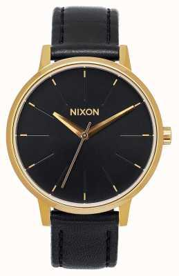 Nixon Kensington皮革|金色/黑色|黑色皮革表带|黑色表盘 A108-513-00