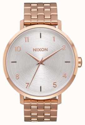 Nixon 箭|全玫瑰金/白|玫瑰金ip钢手链|银色表盘 A1090-2640-00
