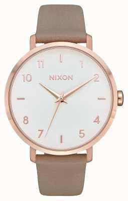 Nixon 箭革|玫瑰金/灰色|灰色皮革表带|白色表盘 A1091-2239-00
