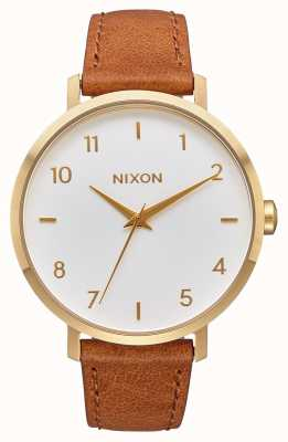 Nixon 箭革|黄金/白/马鞍|棕色皮革表带|白色表盘 A1091-2621-00