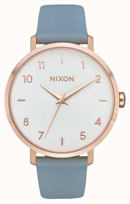 Nixon 箭革 玫瑰金/蓝色 蓝色皮革表带 白色表盘 A1091-2704-00