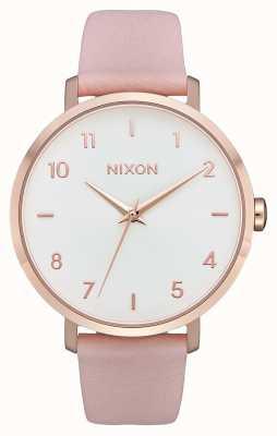 Nixon 箭革|玫瑰金/浅粉色|粉色皮革表带|白色表盘 A1091-3027-00