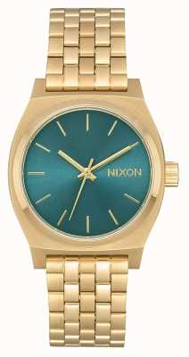 Nixon 中等时间柜员|浅金/绿松石|黄金ip钢手链 A1130-2626-00
