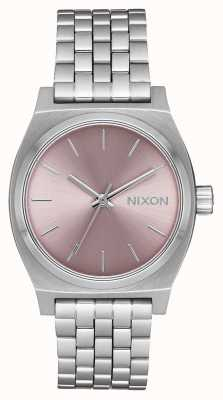 Nixon 中等时间出纳员 银/淡紫色 不锈钢手链  A1130-2878-00