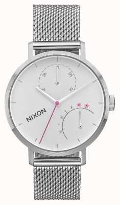 Nixon 离合器全银|不锈钢网|白色表盘 A1166-1920-00