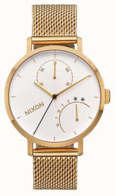 Nixon 离合器全金/白| ip网眼金手链|白色表盘 A1166-504-00