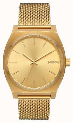Nixon 西班牙语时间出纳员|全金|金色ip钢网|金表盘 A1187-502-00