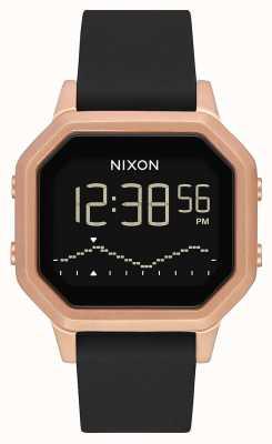 Nixon 警笛SS |玫瑰金/黑色|数字|黑色硅胶表带 A1211-1098-00