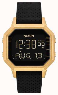 Nixon 警笛SS |金色/黑色lh |数字|黑色硅胶表带 A1211-2970-00