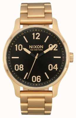Nixon 巡逻|金色/黑色|黄金ip钢手链|黑色表盘 A1242-513-00