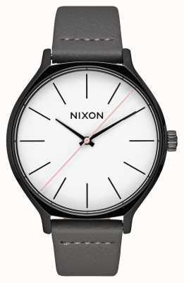 Nixon 皮革黑色/灰色 灰色皮革表带 白色表盘 A1250-007-00