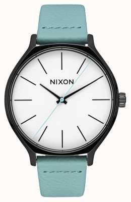 Nixon 皮革黑色/薄荷|薄荷绿色皮革表带|白色表盘 A1250-3317-00