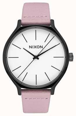 Nixon 皮革黑色/珊瑚|粉色皮革表带|白色表盘 A1250-3318-00