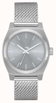 Nixon 中等时间出纳语|全银|不锈钢网|银色表盘 A1290-1920-00