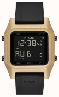 Nixon 主食|黑色/金色|数字|黑色硅胶表带 A1309-010-00
