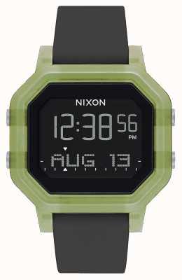 Nixon 警笛声 清除绿色 数码 黑色硅胶表带 A1311-3408-00