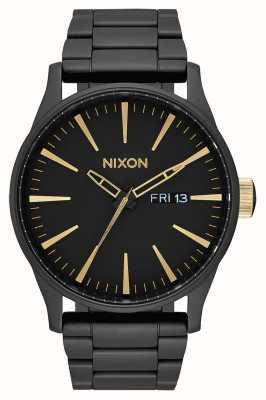 Nixon 哨兵SS |磨砂黑/金|黑色ip钢手链|黑色表盘 A356-1041-00