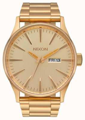Nixon 哨兵SS |全金|黄金ip钢手链|金表盘 A356-502-00