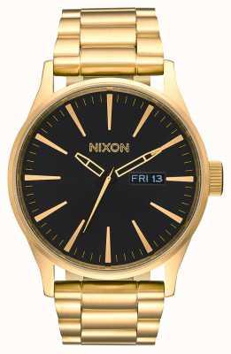 Nixon 哨兵SS  全金/黑色 黄金ip钢手链 黑色表盘 A356-510-00