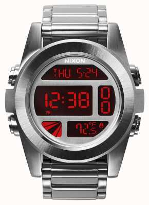 Nixon 单位ss |银色/红色|数码|不锈钢手链 A360-1263-00