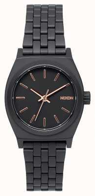 Nixon 小柜员|全黑/玫瑰金|黑色ip钢手链|黑色表盘 A399-957-00