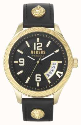 Versus Versace |男装现实黑色皮革表带|黑色表盘| VSPVT0220