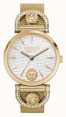 Versus Versace 女士iseo |玫瑰金网状手链|白色表盘 VSPVP0720