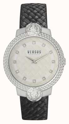 Versus Versace |女式| mouffetard |黑色皮革表带|白色表盘| VSPLK1120