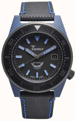 Squale 碳素风格|黑色/蓝色表盘|黑色超细纤维表带-蓝色缝线 T183BL-CINT183BL