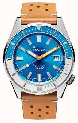 Squale Matic xse |钢蓝色表盘|驼色皮革表带 MATICXSE00-CINU1565CM