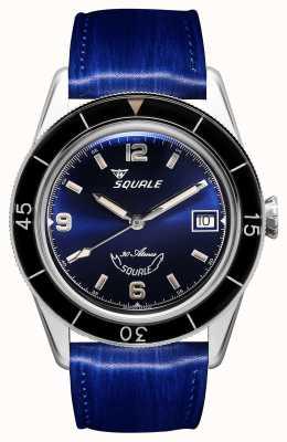 Squale 蓝色的60年| sub-39 |蓝色皮革表带|蓝色表盘 SUB39BL-CINSQ60BL