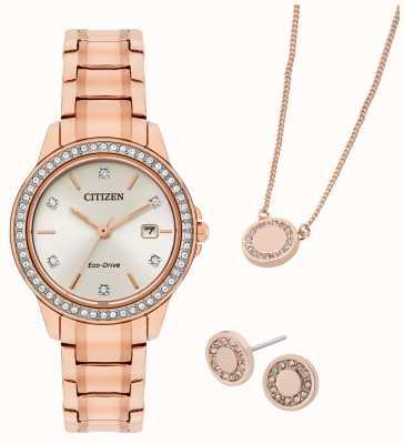 Citizen 生态驱动镀玫瑰金手表和珠宝礼品套装 FE1173-52A
