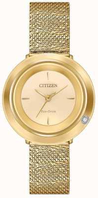 Citizen 女士吊带衫|金色网眼手链|香槟色表盘 EM0642-52P