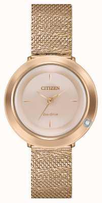 Citizen 女士吊带衫|玫瑰金网状手链|珍珠贝母表盘 EM0643-50X