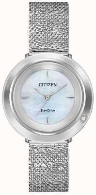 Citizen 女士吊带衫|钢网手链|珍珠贝母表盘 EM0640-58D