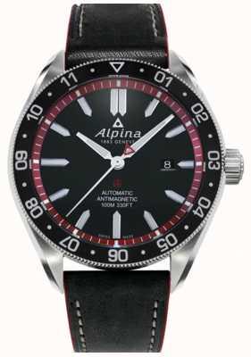 Alpina 阿尔卑斯4 |黑色皮革表带|黑色表盘|自动 AL-525BR5AQ6