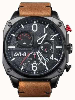 AVI-8 小贩猎人计时码表 棕色皮革表带 AV-4052-02