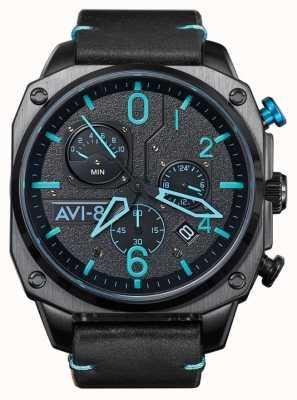 AVI-8 小贩猎人计时码表 黑色皮革表带 AV-4052-05