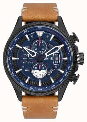 AVI-8 小贩猎人|计时码表|蓝色表盘|棕色皮革表带 AV-4064-01