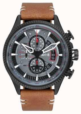 AVI-8 小贩猎人|计时码表|灰色表盘|棕色皮革表带 AV-4064-03