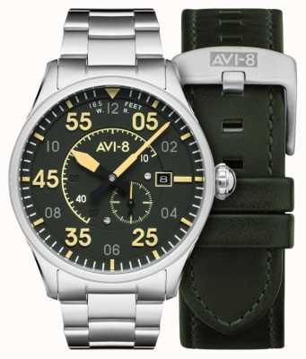AVI-8 烈性人|自动|绿色表盘不锈钢手链|额外的皮革表带 AV-4073-22