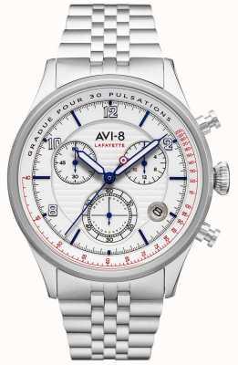 AVI-8 Flyboy拉斐特 计时码表 白色表盘 不锈钢手链 AV-4076-11