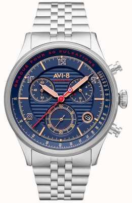 AVI-8 Flyboy拉斐特|计时码表|蓝色表盘|不锈钢手链 AV-4076-22