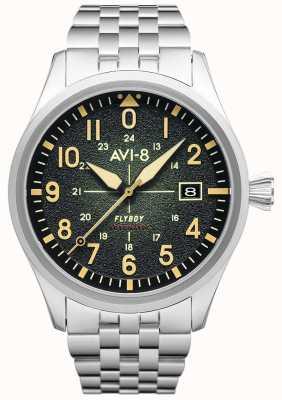 AVI-8 Flyboy  自动 绿色表盘 不锈钢手链 AV-4075-33