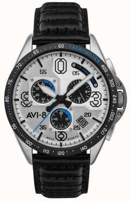 AVI-8 P-51野马 计时码表 银表盘 黑色皮革表带 AV-4077-01